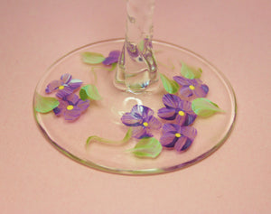 Hand Painted Wine Glass - Purple Forget Me Nots - Original Designs by Cathy Kraemer