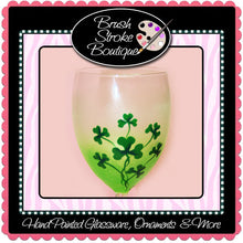 Hand Painted Wine Glass - Shamrocks - Original Designs by Cathy Kraemer