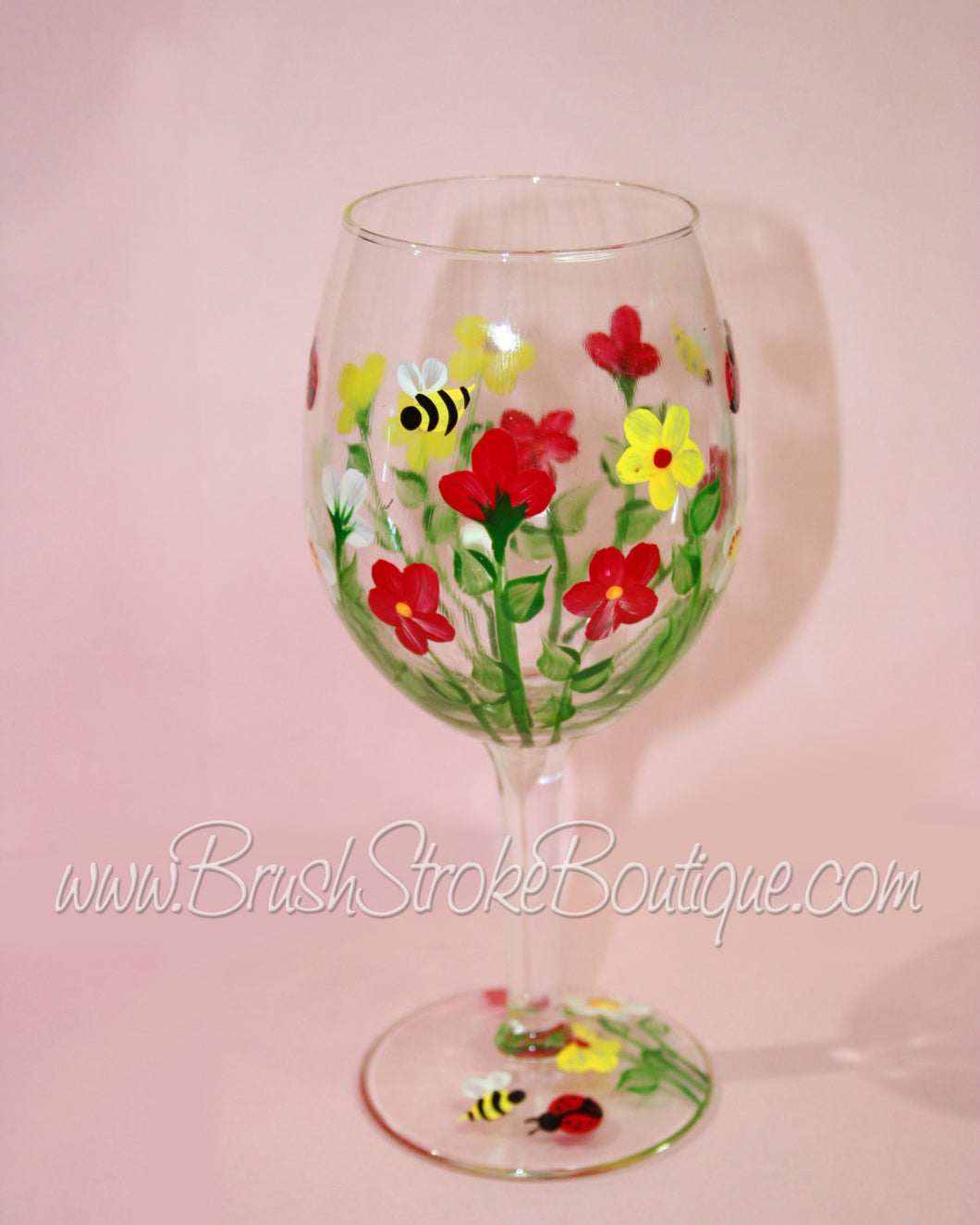Hand Painted Wine Glass - Summer Bug Garden - Original Designs by Cathy Kraemer