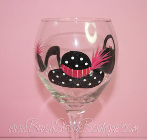 Hand Painted Wine Glass - Girl Fun - Original Designs by Cathy Kraemer