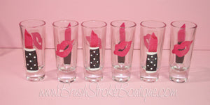 Hand Painted Shot Glasses - Hot Lips - Original Designs by Cathy Kraemer