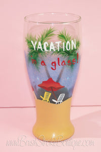 Hand Painted Wine Glass - Beachy Keen Vacation - Original Designs by Cathy Kraemer