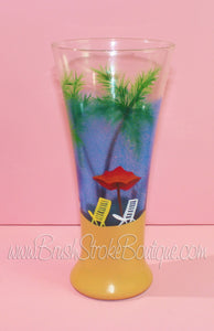 Hand Painted Wine Glass - Beachy Keen - Original Designs by Cathy Kraemer