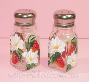 Hand Painted Salt & Pepper Shakers - Strawberries 'N' Daisies - Original Designs by Cathy Kraemer