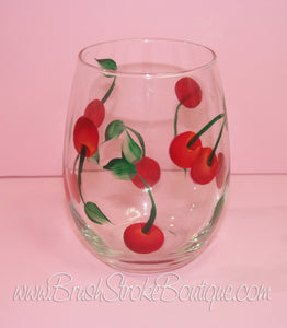 Hand Painted Wine Glass - Cherries Jubilee - Original Designs by Cathy Kraemer