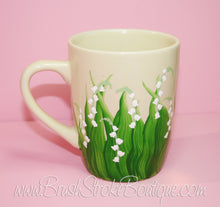 Hand Painted Coffee Mug - Lily of the Valley - Original Designs by Cathy Kraemer