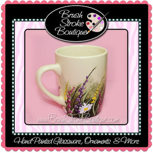 Hand Painted Coffee Mug - Wildflowers - Original Designs by Cathy Kraemer