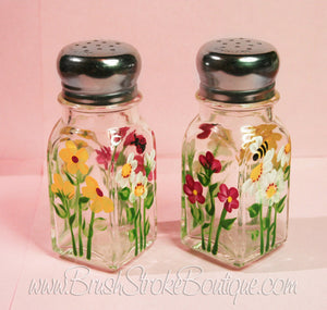 Hand Painted Salt & Pepper Shakers - Summer Bug Garden - Original Designs by Cathy Kraemer