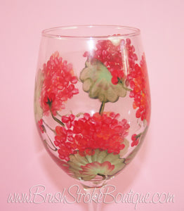 Hand Painted Wine Glass - Geraniums - Original Designs by Cathy Kraemer