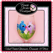 Hand Painted Wine Glass - Kissing Fish - Original Designs by Cathy Kraemer