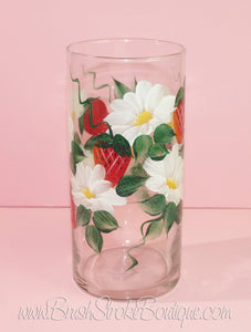 Hand Painted Vase - Strawberries & Daisies - Original Designs by Cathy Kraemer