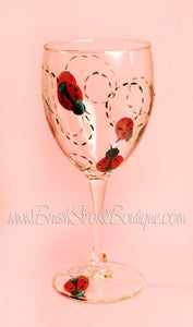 Hand Painted Wine Glass - Ladybugs - Original Designs by Cathy Kraemer