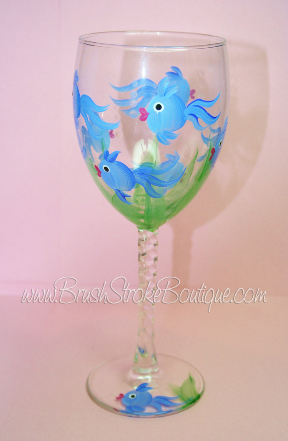 Hand Painted Wine Glass - Somethings Fishy - Original Designs by Cathy Kraemer