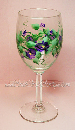 Hand Painted Wine Glass - Violets - Original Designs by Cathy Kraemer