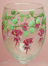 Hand Painted Wine Glass - Fuchsia - Original Designs by Cathy Kraemer