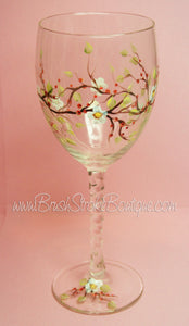 Hand Painted Wine Glass - Fall Berries - Original Designs by Cathy Kraemer