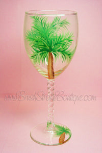 Hand Painted Wine Glass - Palm Tree - Original Designs by Cathy Kraemer