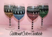 Hand Painted Wine Glass - Aztec Tribal Pastel Blue - Original Designs by Cathy Kraemer