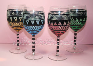 Hand Painted Wine Glass - Aztec Tribal Pastel - Original Designs by Cathy Kraemer
