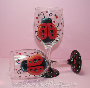 Hand Painted Wine Glass - Lucky Ladybug - Original Designs by Cathy Kraemer
