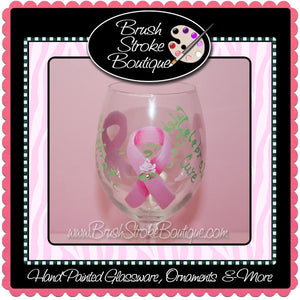 Hand Painted Wine Glass - Celebrate Life Breast Cancer - Original Designs by Cathy Kraemer
