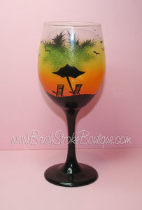 Hand Painted Wine Glass - Tropical Sunset - Designs by Cathy Kraemer