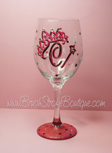 Hand Painted Wine Glass - Tiara Initials - Original Designs by Cathy Kraemer