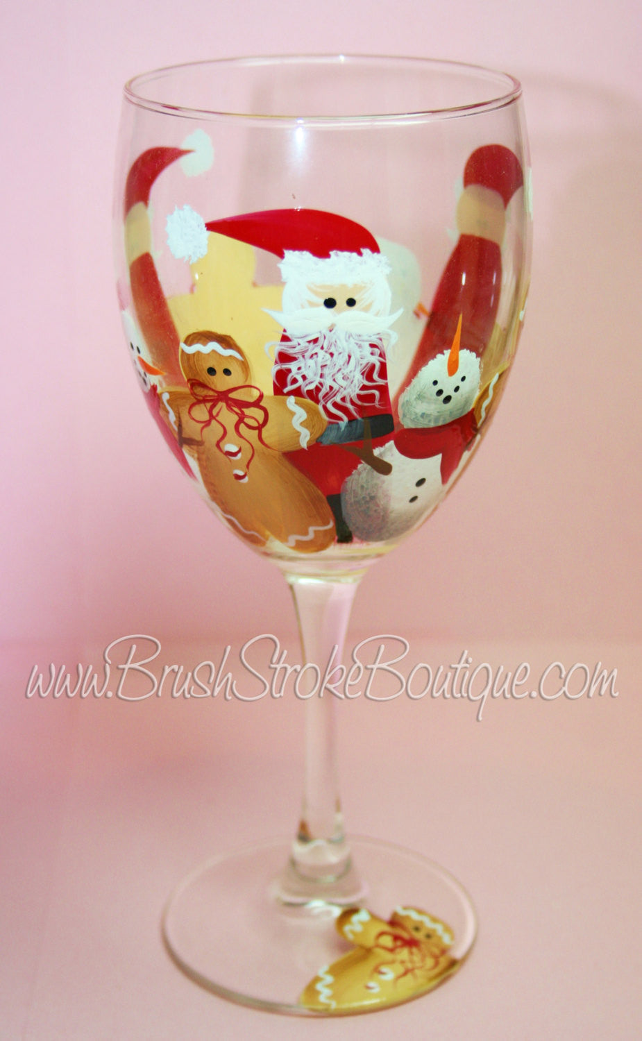 Hand Painted Wine Glass - Santas Crew - Original Designs by Cathy Kraemer