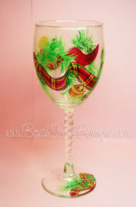 Hand Painted Wine Glass - Scotch Plaid - Original Designs by Cathy Kraemer