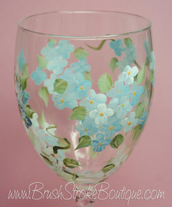 Hand Painted Wine Glass - Blue Forget Me Nots - Original Designs by Cathy Kraemer