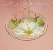 Hand Painted Wine Glass - Daisies - Original Designs by Cathy Kraemer