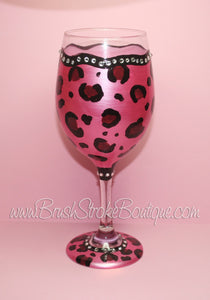 Hand Painted Wine Glass - Leopard Bling Pink - Original Designs by Cathy Kraemer