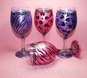 Hand Painted Wine Glass - Blinged Out Animal Print - Original Designs by Cathy Kraemer