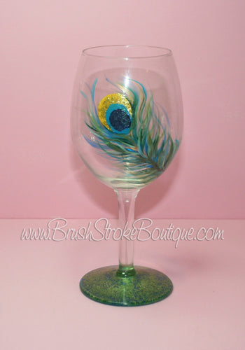 Hand Painted Wine Glass - Peacock Feather - Original Designs by Cathy Kraemercasions
