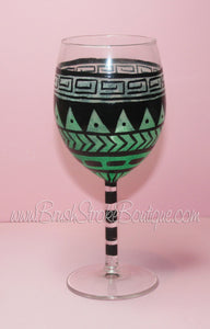 Hand Painted Wine Glass - Aztec Tribal Pastel Green - Original Designs by Cathy Kraemer
