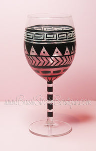 Hand Painted Wine Glass - Aztec Tribal Pastel Pink - Original Designs by Cathy Kraemer