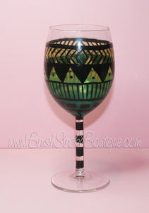 Hand Painted Wine Glass - Aztec Tribal Green 1 - Original Designs by Cathy Kraemer