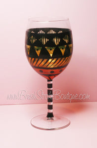 Hand Painted Wine Glass - Aztec Tribal Orange 2 - Original Designs by Cathy Kraemer