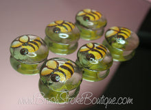Hand Painted Glass Gems - Bumble Bees - Original Designs by Cathy Kraemer