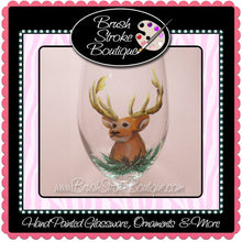 Hand Painted Wine Glass - Deer Head - Original Designs by Cathy Kraemer