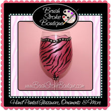 Hand Painted Wine Glass - Zebra Bling Pink - Original Designs by Cathy Kraemer