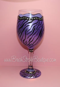 Hand Painted Wine Glass - Zebra Bling Purple - Original Designs by Cathy Kraemer