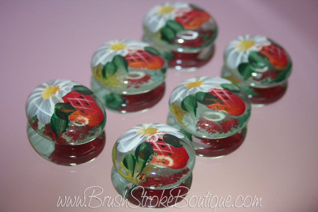 Hand Painted Glass Gems - Strawberries & Daisies - Original Designs by Cathy Kraemer