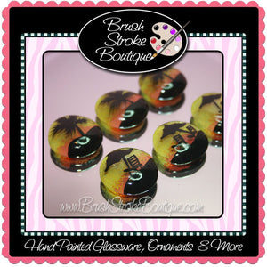 Hand Painted Glass Gems - Tropical Sunset - Original Designs by Cathy Kraemer