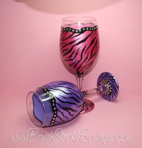Hand Painted Wine Glass - Zebra Bling Set - Original Designs by Cathy Kraemer