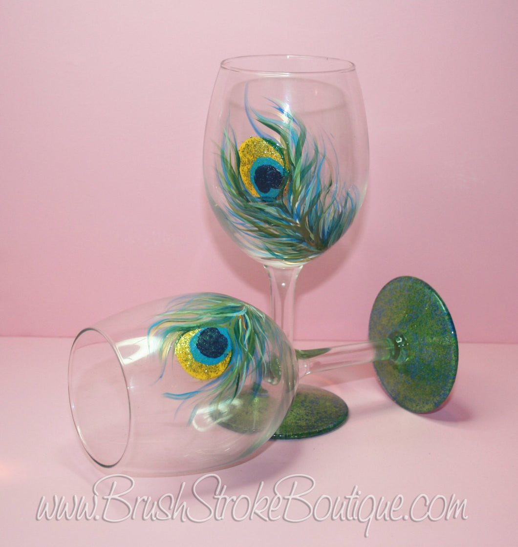 Hand Painted Wine Glass - Peacock Feathers Set - Original Designs by Cathy Kraemer