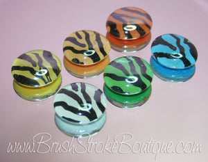 Hand Painted Glass Gems - Zebra Colors - Original Designs by Cathy Kraemer