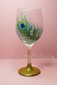 Hand Painted Wine Glass - Peacock Feather Gold - Original Designs by Cathy Kraemer