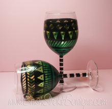Hand Painted Wine Glass - Aztec Tribal Green - Original Designs by Cathy Kraemer
