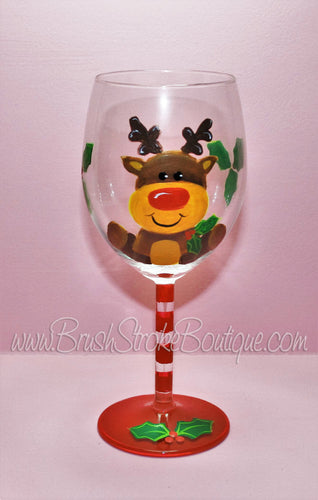 Hand Painted Wine Glass - Cute Lil Reindeer - Original Designs by Cathy Kraemer